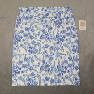 NWT Lularoe 3XL Blue White Floral Cassie Skirt